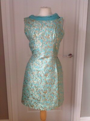 VINTAGE 1960s DRESS TURQUOISE GOLD LUREX GREEN MINI MOD SHIFT PLEATED BACK
