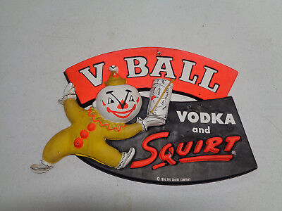 1956 V-Ball Vodka And Squirt Plastic Advertising Sign Display Rare Vintage