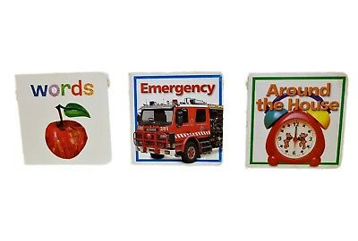 Early reading child small books. 3 books. Words, Emergency and Around the house.