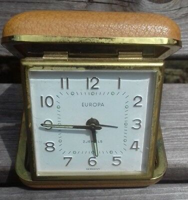Vintage 2 Jewels Europa Travel Alarm Clock Made in Germany Full Working Order