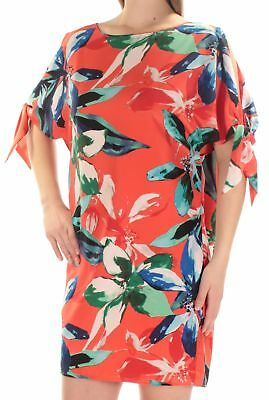 cbce159f32b VINCE CAMUTO  148 New 1105 Orange Floral Cut Out Tie Short Sleeve Dress 8 B+