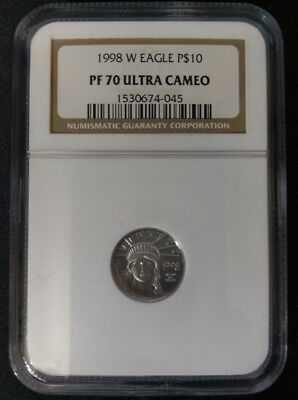 1998 W Eagle Platinum $10 PF 70 Ultra Cameo Total Mintage: 19,847 No Reserve