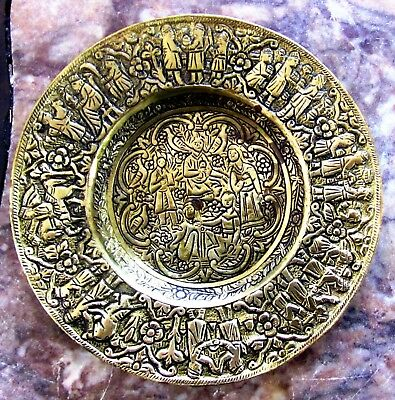Antique Islamic, Persian, Ottoman Hand Crafted Brass Tray With Figures