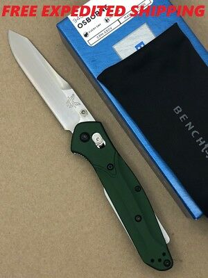 New Benchmade 940 Osborne Green Handle Plain Edge Satin S30V Blade Axis Lock