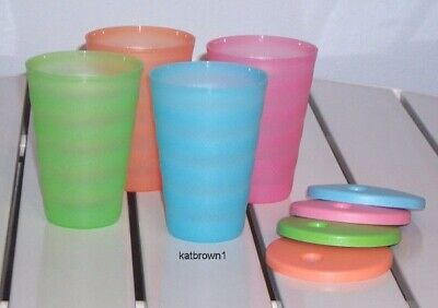 New Tupperware Impressions Tumblers / Cups (4) Dripless Seals Fruit Colors 16oz