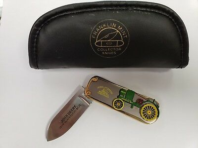 Franklin Mint John Deere 1919 Waterloo Boy Tractor Folding Knife w/ Leather Case