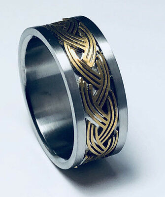 Unisex 316L Stainless Steel Gold Plated Celtic 9mm Ring Band Size 6-12 NEW SS147