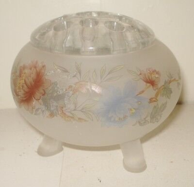 Vintage  Clear Frost Glass Flower Frog Beautiful Flowery Design Nr