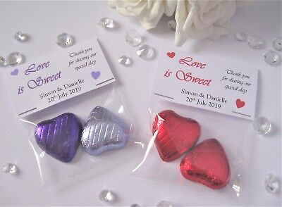 Love is Sweet - Personalised Wedding Favours - 2 Chocolate Hearts