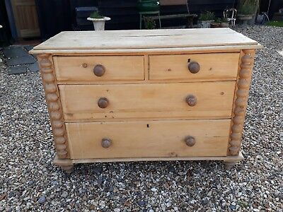 Victorian Pine Chest Of Drawers Long Low Dresser Bedroom Kitchen Sitting Room