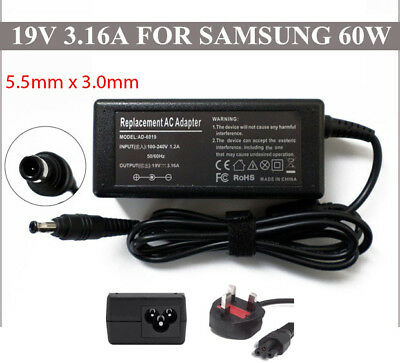 New AC Adapter Replacement Charger for Samsung Laptops 60W 19V 3.16A 5.5*3.0