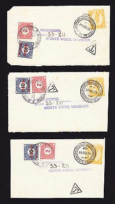 Three 1904 cover fronts / pieces displaying Uruguay stamp and postage due stamps