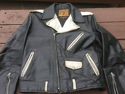 Vintage 1950s Horsehide Motorcycle Jacket Two Tone RARE!