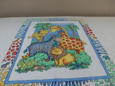 "BABY ZOO ANIMALS PANEL  36"" x 45""  GREAT WALL HANGER  OR QUILT FREE SHIPPING"