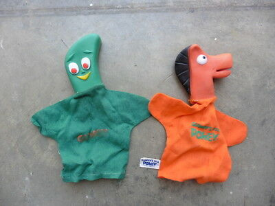 Original 1965 Gumby & Gumby's Pal Pokey Lakeside Toys Hand Puppet Lot Japan Made
