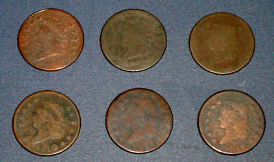 Six CLASSIC HEAD 1810 1811 1812 LARGE CENT 1c Copper U.S. Coins