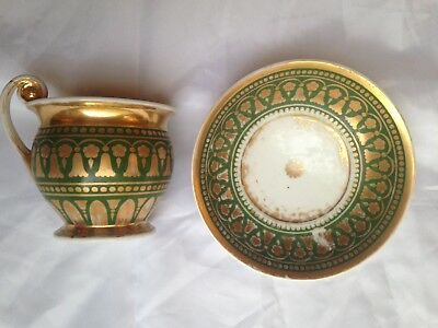 Antique Russian Porcelain Cup And Saucer, Well Loved Green And Gold