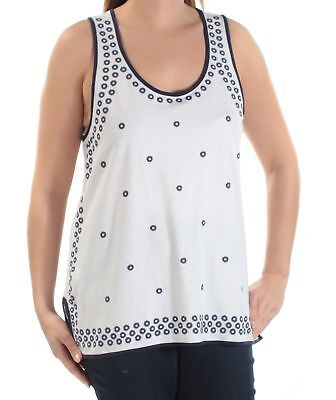 621f720368a24c TOMMY HILFIGER  49 Womens New 1246 Ivory Floral Scoop Neck Sleeveless Top L  B+B
