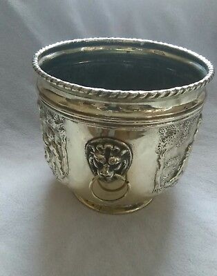 Beautiful Vintage Decorative Brass Planter With Kids Scene Lion Head Handles