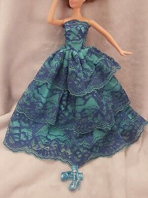 New Barbie clothes/outfit/princess/wedding gown dress blue lace and shoes x1