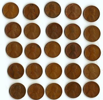 One Half Roll (25) Of Wheat Cents,  All 1909-P
