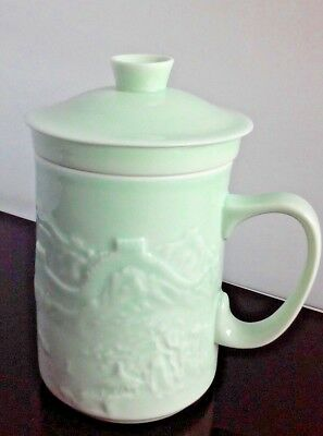 Chinese Celadon Porcelain Cup Mug w/Strainer & Lid Tea Dynasty Marks Great Wall