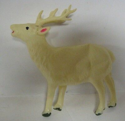 "Vintage REINDEER Celluloid JAPAN White Deer Christmas 5.5"" Soft Plastic Figure"