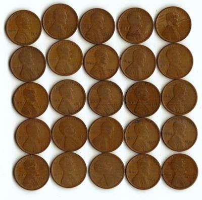 One Half Roll (25) Of Wheat Cents,  All 1918-S