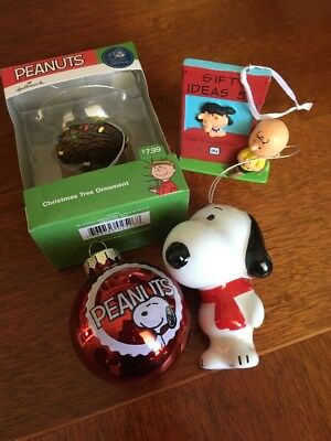 Lot Of 4 Snoopy, Woodstock, Charlie Brown & Lucy Christmas Ornaments Grt. Cond.