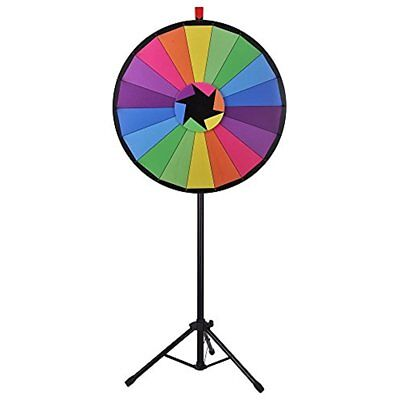 "30"" Editable Color Prize Wheel Of Fortune 18 Slot Floor Stand Tripod Spin Game"