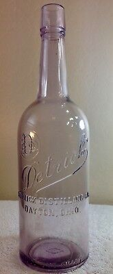Vintage Detrick Distilling Company Quart Whiskey Bottle from early 1900's