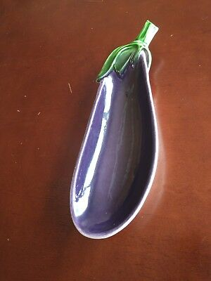 Eggplant Spoon Rest Holder Made In Italy Vintage Ceramic.