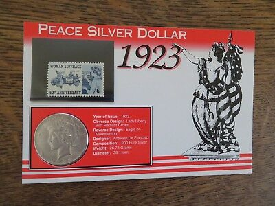 1923-S PEACE DOLLAR SILVER w/WOMAN SUFFRAGE 50th ANNIVERSARY 6 CENT STAMP NICE