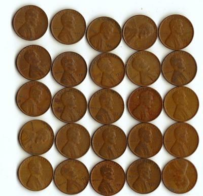 One Half Roll (25) Of Wheat Cents,  All 1931-P
