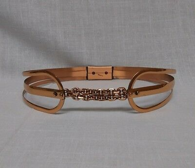 Vintage 1950's Renoir Marked Copper Metal Belt sz Small With Adjustable Chain