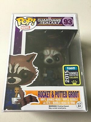 Funko Pop Vinyl Exclusive SDCC ROCKET & POTTED GROOT Marvel Guardians Galaxy