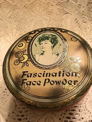 """Vintage Round Tin """"Fascination Face Powder"""" Daher Made in England"""