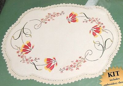 Kit Linen Oval Doily Centre Bush Christmas Bell Flowers Traced Printed Embroider