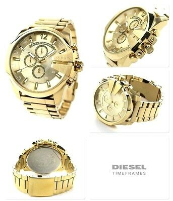 ✅ DIESEL Mega Chief Gold-tone Stainless Steel Champagne Dial Men's Watch DZ4360