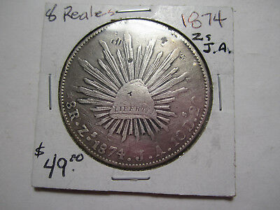 Circulated 1874 Zs. J. A.  Silver Mexican 8 Reales