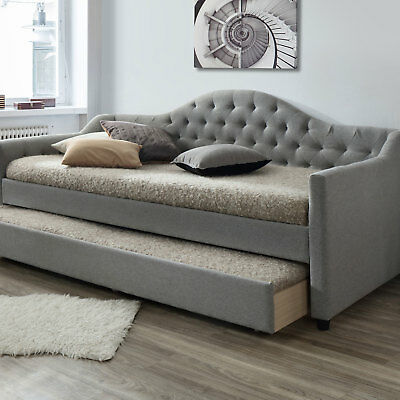 NEW Grey York Single Day Bed Frame with Trundle VIC Furniture Sofa Beds