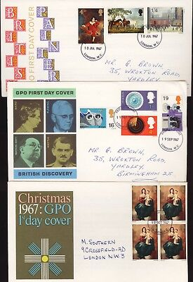 Great Britain GB 1967 FDC Three (3) covers (a)