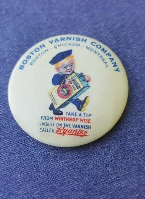 Old Celluloid Advertising Pocket Mirror Boston Varnish Co. Kyanize Winthrop Wise