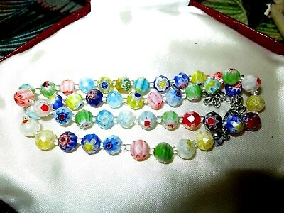 Lovely vintage millefiori flower aurora borealis glass beaded necklace