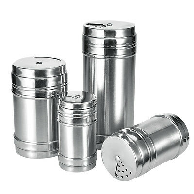 Stainless Steel Spice Sugar Salt Pepper Shaker Jar Cruet Container Bottle 4 Size