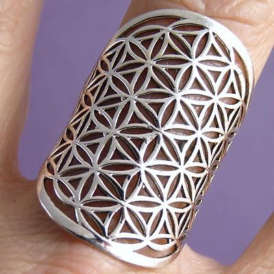 Wide JALI FLOWER OF LIFE Size US 6.25 SilverSari Art Ring Solid 925 Stg Silver