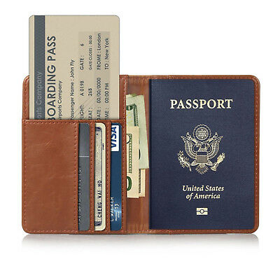 RFID Blocking Travel US Passport Holder Leather Wallet Cover Case Credit Card