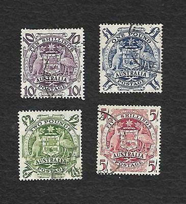 1949 Coat Of Arms Set Of 4 Used To 2 Pound --Nice Lot At A Cheap Price