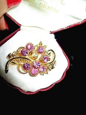 Vintage 1950s pink glass floral goldtone brooch