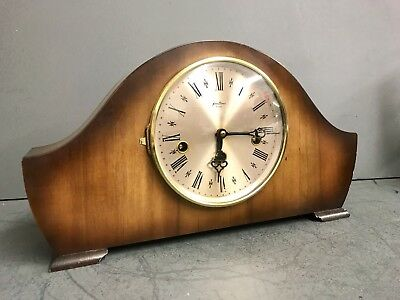 Bentima / Hermle 8 Day Walnut Westminster Napoleon Mantle Mantel Chime Clock